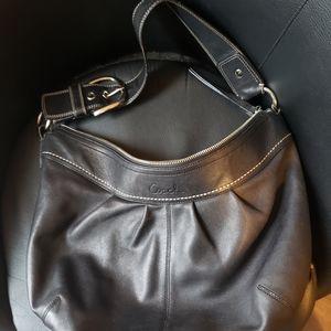 Coach Soho F13713 Black Silver Leather Hobo Bag